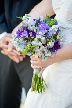 lisianthus, freesia and delphinium purple bouquet