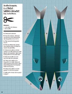 Sardine printable in Magazine Georges. Use for cut paste or as pattern to make from felt Origami Paper Art, 3d Paper Crafts, Paper Toys, Paper Fish, Paper Box Template, Fish Crafts, Mobile Art, Fish Art, Paper Models