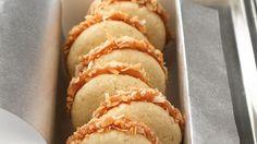 Caramel apple dip is the quick filling sandwiched between tender sugar cookies.