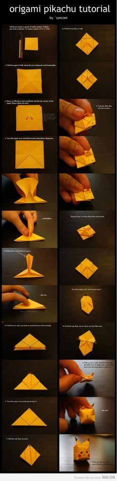 """Origami Pikachu - ou """" comment passer le temps en se rappelant combien les pokemons étaient chous"""""""