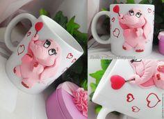 """Купить кружка """"Влюблённый слоник"""" - розовый, подарок на день валентина, романтика, подарок ручной работы"""