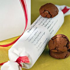 Such a cute idea--wrap cookie dough in parchment and write the recipe on it.