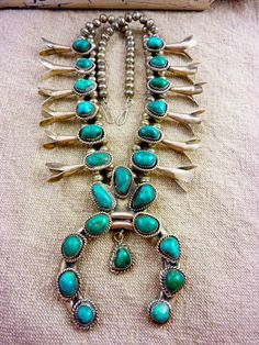 FABULOUS 209 gram Vintage Navajo Sterling Silver Squash Blossom Necklace w Lovely Teal Blue Turquoise Cabochons. Big Piece with Nice Length. $735.00.