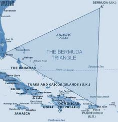 Bermuda Triangle - The Bermuda Triangle (also known as Devil's Triangle and Devil's Sea) is a nearly half-million square-mile (1.2 million km2) area of ocean roughly defined by Bermuda, Puerto Rico, and the southernmost tip of Florida. This area is noted for a high incidence of unexplained losses of ships, small boats, and aircraft..