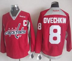 """$35.88 at """"MaryJersey""""(maryjerseyelway@gmail.com) Capitals 8 Alex Ovechkin Red Practice Stitched NHL Jersey"""