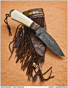Frontiersman Knife - Forged with Bone handle - Quill work on rawhide sheath