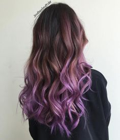 Long Brown To Purple Ombre Hair