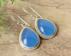 Bridal Chalcedony earrings - Blue earrings - dangle earrings - Tear drop earrings - gemstone earrings - Wedding gift idea by Studio1980 on Etsy