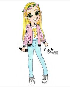 a request of this adorable and talented artist One new personalization!🌹🎤🎶⚡💞😊 I hope you like it! un pedido de esta adorable y. Disney Drawings, Cartoon Drawings, Cute Drawings, Chibi Kawaii, Kawaii Anime, Arte Disney, Disney Art, Tumblr Drawings, Best Friend Drawings