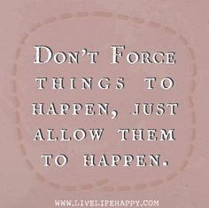 Don't force things to happen, just allow them to happen.