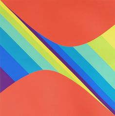 Two Curves with Colored Progressions, Herbert Bayer, Silkscreen, 1973