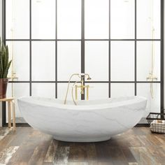 """72"""" Lucius Polished Moon White Marble Tub"""