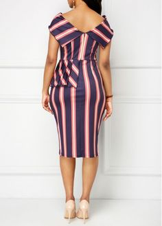 Peplum Waist Fold Over Striped Sheath Dress African Fashion Designers, African Print Fashion, African Fashion Dresses, Fashion Outfits, African Attire, African Wear, African Dress, Simple Dresses, Sexy Dresses