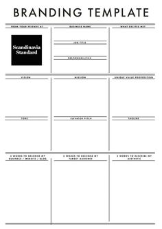 An Easy Guide to Branding, The Business Model Canvas & More - Branding template – Scandinavia Standard advises independent moms on the topics of marke - Branding Template, Branding Design, Branding Ideas, Hotel Branding, Identity Branding, Logo Design, Graphic Design, Brochure Design, Visual Identity