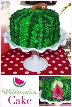 "what a cute idea! Make the cake pink and the outside frosting green! Maybe you could add mini chocolate chips to make ""seeds""? adorable for a summer potluck. I would make my own cake batter though."