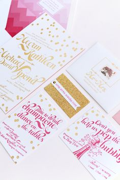 Glitter pink and gold wedding invitation suite: Kate Spade Inspired Wedding Invitation from Coral Pheasant Stationery + Design - http://www.stylemepretty.com/little-black-book-blog/2013/04/25/kate-spade-inspired-wedding-invitation-from-coral-pheasant-stationery-design/