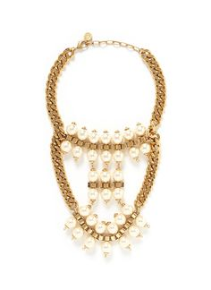 ELA STONE 'Celia' box chain faux pearl tier necklace