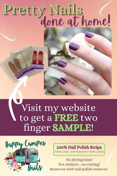 They are so easy - you will love them! Curious and want a free sample? Just visit my website. Our 100% nail polish strips provide base, color, and top coat in every strip with the bonus of no drying… More