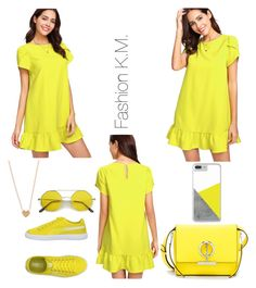 """""""Yellow"""" by karinemarutyan ❤ liked on Polyvore featuring Puma and Henri Bendel"""
