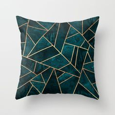 Deep Teal Stone Throw Pillow by Elisabeth Fredriksson - Cover x with pillow insert - Indoor Pillow Teal Throws, Teal Pillows, Modern Throw Pillows, Designer Throw Pillows, Down Pillows, Geometric Cushions, Geometric Pillow, Decorative Pillow Cases, Decorative Cushions