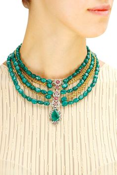 Gold plated zircon and green onyx necklace available only at Pernia's Pop-Up Shop.