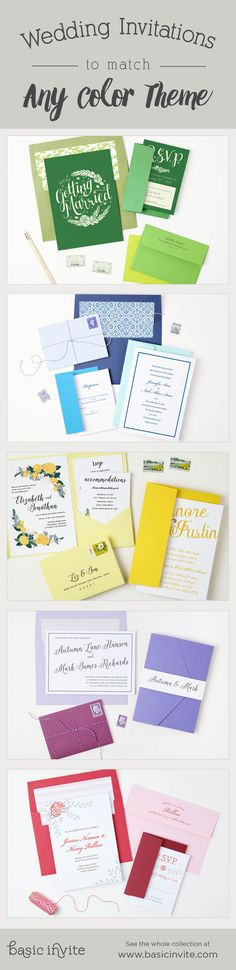 Create a wedding invitation set that matches your wedding colors perfectly.  Change the color of each element to one of over 160 different custom colors to give yourself almost unlimited color options.   Also, choose from over 40 different colored envelopes for the perfect touch.