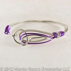 Guitar string bangle bracelet purple wire wrap hook clasp. GSB12 | MartieRocco - Jewelry on ArtFire
