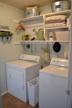 My friend's laundry room she designed on a dime! Proof that beauty can be enjoyed in the mundane