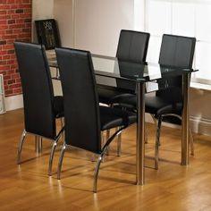 Kingston 120cm Black Glass Dining Table
