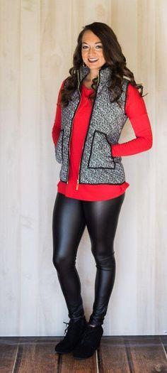 Designer Inspired Herringbone Puffer Vest