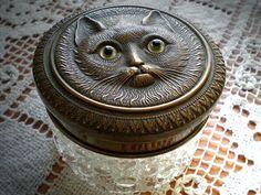 Pastillero de vidrio y con imagen de gato