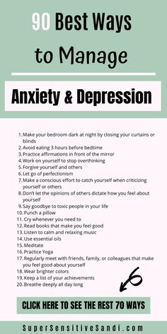 90 Best Ways to Manage Anxiety and Depression