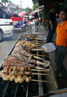 Street Food, Davao City, The Philippines (all kinds of fish parts -- eggs, tails, bellies, other parts)