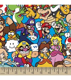Super Mario Bros Packed Characters Cotton Fabric