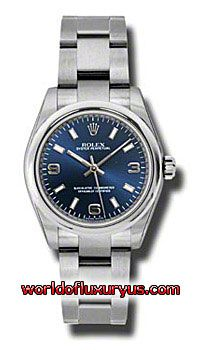 177200-BLAIO - This Rolex Oyster Perpetual No-Date Mid-Size Mens Watch, 177200-BLAIO features 31 mm Stainless Steel case, Blue dial, Sapphire crystal, Fixed bezel, and a Stainless Steel bracelet. Rolex Oyster Perpetual No-Date Mid-Size Mens Watch, 177200-BLAIO also features Automatic movement, Analog display. This watch is water resistant up to 30m/100ft. - See more at: http://www.worldofluxuryus.com/watches/Rolex/No-Date/177200-BLAIO/641_802_6393.php#sthash.FQ9OG9Ks.dpuf