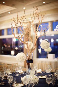 #pomanders #winter #centerpiece #candles #reception #wedding
