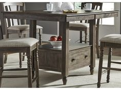 Liberty Furniture Candlewood Center Island Gathering Table with Built In Storage | Sheely's Furniture & Appliance | Pub Table