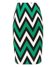 Loving this Green & Black Curious Chevron Pencil Skirt on #zulily! #zulilyfinds