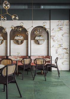 Bistro Interior, Coffee Shop Interior Design, Cafe Interior, Cafe Design, Art Deco Design, Modern Restaurant Design, Modern Cafe, Hotel Restaurant, Wall And Floor Tiles