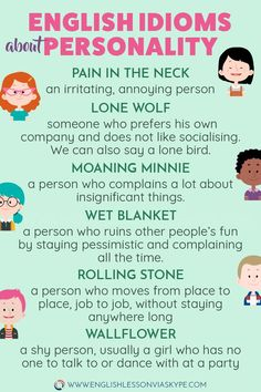30 English Idioms describing Character and Personality Learn English Idioms related to Character and Personality. Learn to describe people in English. Improve your English vocabulary. Speak Fluent English, Learn English Grammar, English Writing Skills, English Vocabulary Words, Learn English Words, English Idioms, English Phrases, English Language Learning, Teaching English