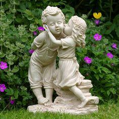 Boy and Girl Kissing Garden Statue Garden statues for the yard, patio or deck - Garden Statue Resin Garden Statues, Garden Figurines, Sculpture Art, Garden Sculpture, Sculptures, 6 Month Baby Picture Ideas, Garden Angels, Angel Statues, Angel Art