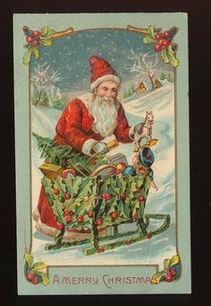 Nice Santa Claus with Sled of Holly, Toys Vintage Christmas Postcard-ppp799 #Christmas