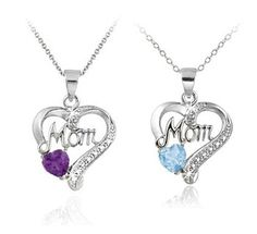 $17.99 - 1/4 Carat Amethyst or 1 Carat Blue Topaz Diamond Accent Heart Mom Pendant in Sterling Silver
