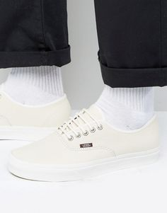 Get this Vans's sneakers now! Click for more details. Worldwide shipping. Vans Authentic Leather Trainers in White - White: Trainers by Vans, Leather upper, Lace-up fastening, Branding to side, Chunky sole, Moulded tread, Wipe with a damp sponge, 100% Real Leather Upper. Since their conception in 1966, Vans� classic deck shoes have become contemporary footwear icons. Founder Paul Van Doren opened his first store in California, and quickly saw Vans adopted by the wider skate community who…
