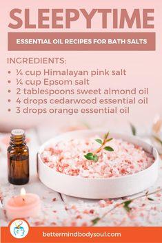 21 Essential Oil Recipes for Bath Salts Bath Recipes, No Salt Recipes, Soap Recipes, Doterra Recipes, Diy Bath Salts With Essential Oils, Lavender Essential Oil Uses, Essential Oil Bath Bombs, Box Noel, Bath Salts Recipe