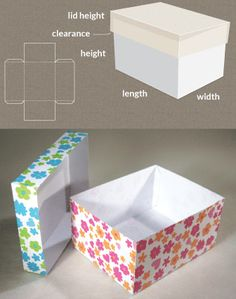 Completely custom sized template for a Box with lid. Completely custom sized template for a Box with lid. Diy Gift Box, Diy Box, Gift Boxes, Craft Gifts, Diy Gifts, Diy Paper, Paper Crafts, Foam Crafts, Free Paper