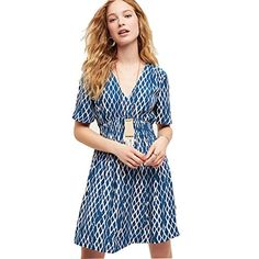 WILLTOO Women Short Sleeve Floral Short Beach Mini Dress Blue M * Want additional info? Click on the image.