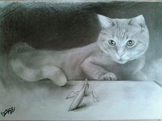 CUTE画「猫と蟷螂」[藪野] | ART-Meter