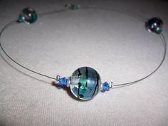 Blue glass wire necklace