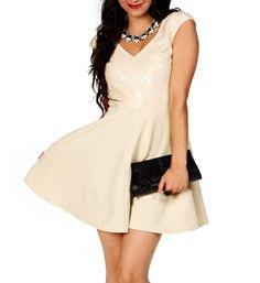 Ivory Cap Sleeve Sequin Dress $49.90